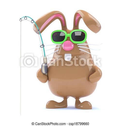 3d Easter bunny fisherman - csp18799660
