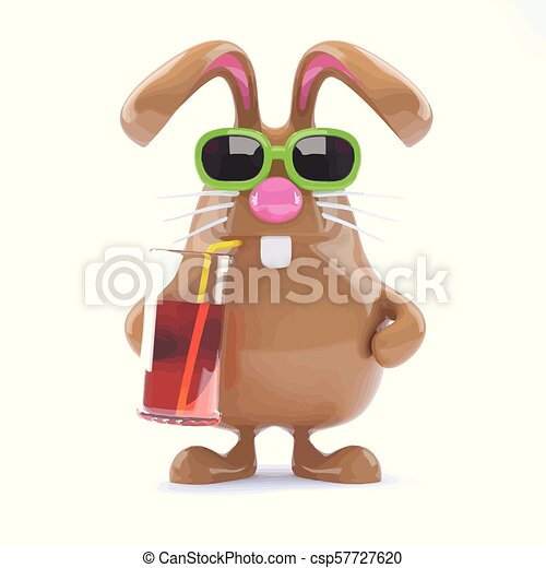 3d Easter bunny has a cool drink - csp57727620