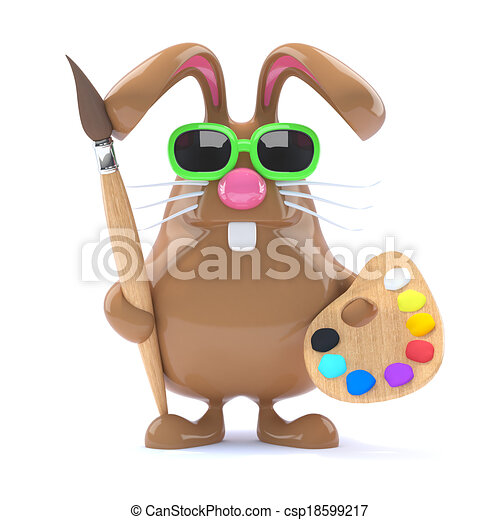 3d Easter bunny loves to paint - csp18599217