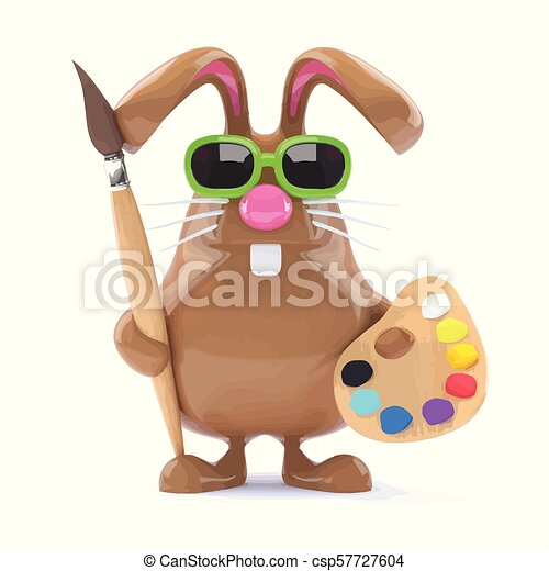 3d Easter bunny loves to paint - csp57727604