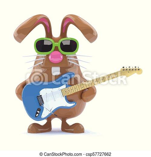 3d Easter bunny played guitar - csp57727662