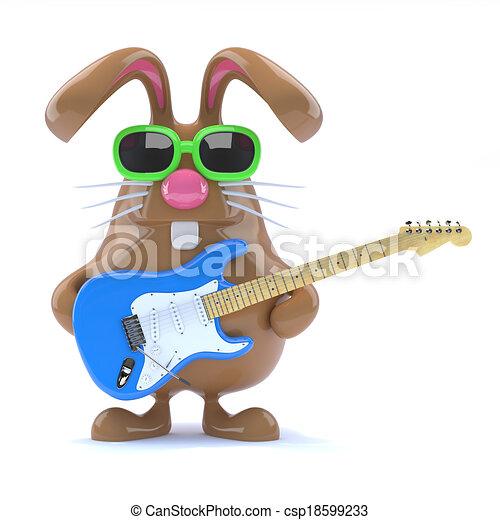 3d Easter bunny played guitar - csp18599233