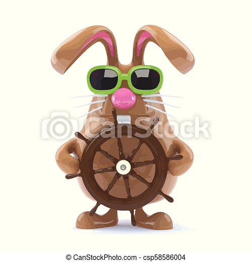 3d Easter bunny sailor - csp58586004