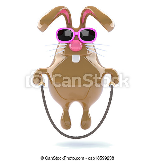 3d Easter bunny skips happily - csp18599238
