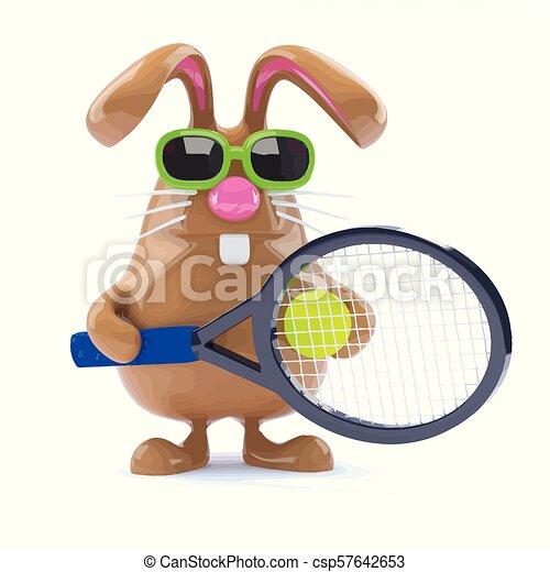 3d Easter bunny tennis star - csp57642653