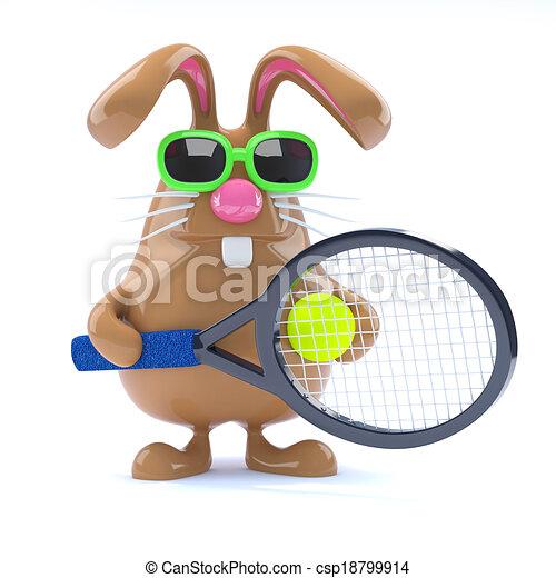 3d Easter bunny tennis star - csp18799914