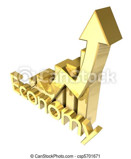 3d Economy - Statistics graphic in gold  - csp5701671