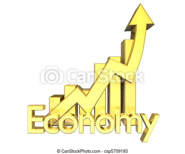 3d Economy - Statistics graphic in gold  - csp5709193