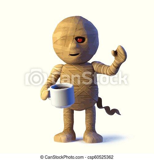 3d Egyptian mummy monster drinks a cup of tea - csp60525362