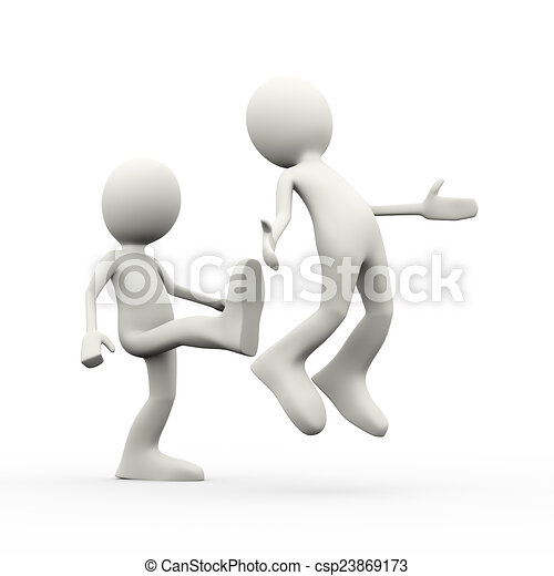 3d employer kicking out his employee - csp23869173