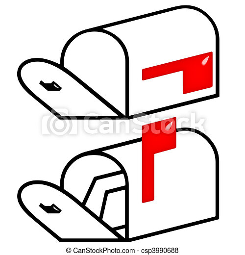 3d empty and full mailbox isolated in white stock illustration