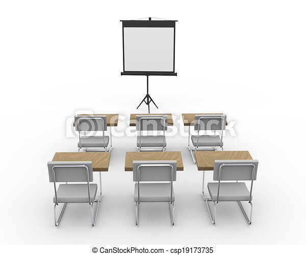 3d empty conference room - csp19173735