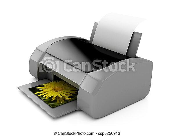 3d, encima, impresora, gris, blanco - csp5250913
