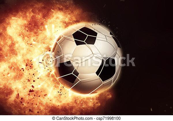 3D eploding fiery football / soccer ball - csp71998100