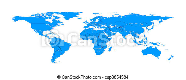 3d Extruded Countries Borders Worldmap Blue 3d Objects With Blank
