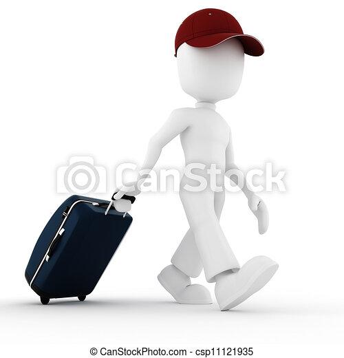 3d, férias, viajante, homem - csp11121935