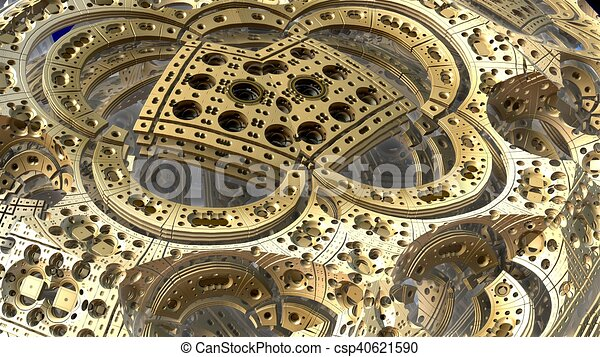 3D fantasy abstract background from strange shapes, 3D illustration - csp40621590