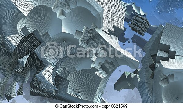 3D fantasy abstract blue background from strange shapes, 3D illustration - csp40621569
