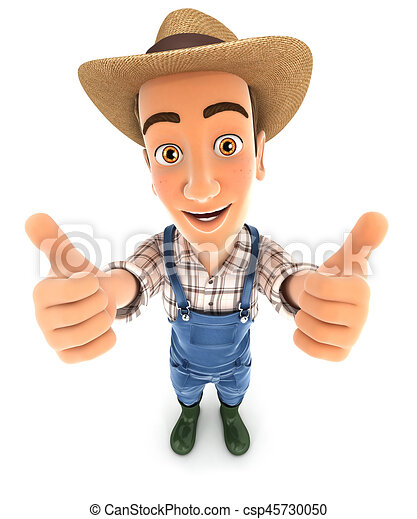 3d farmer thumbs up - csp45730050