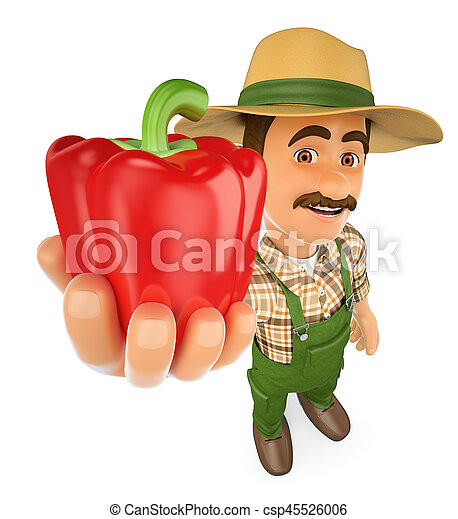 3D Farmer with a red pepper from his harvest - csp45526006