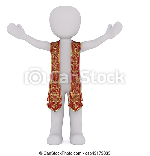 3D figure of spiritual leader stretches his arms - csp43173835