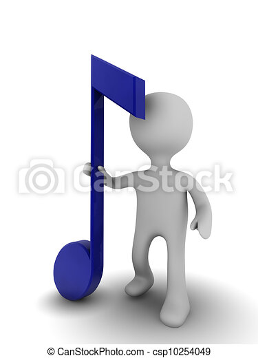 3d figure with musical note - csp10254049