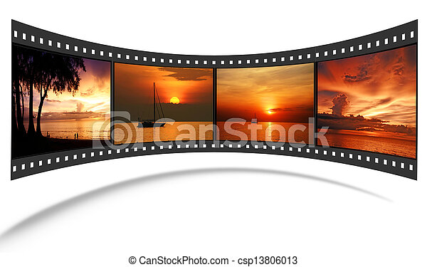 3D film strip with nice pictures of andaman scene  - csp13806013
