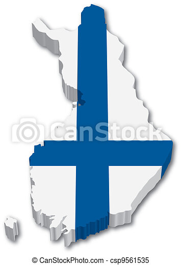 3D Finland map with flag - csp9561535