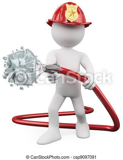 3D fireman putting out a fire - csp9097091