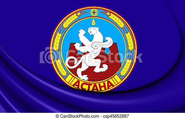 3D Flag of Astana, Kazakhstan. 3D Illustration. - csp45652887