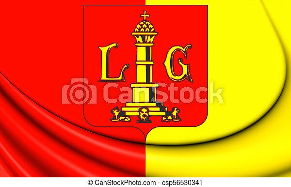 3D Flag of Liege City, Belgium. - csp56530341
