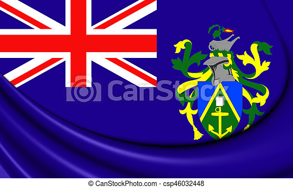 3D Flag of the Pitcairn Islands. 3D Illustration. - csp46032448