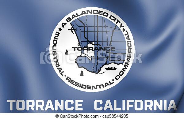3D Flag of Torrance (California), USA. - csp58544205