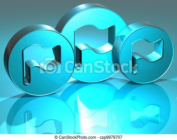 3D Flags Blue Sign - csp9979707