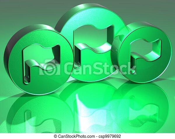 3D Flags Green Sign - csp9979692