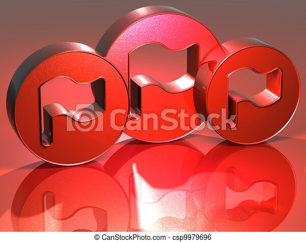 3D Flags Red Sign - csp9979696