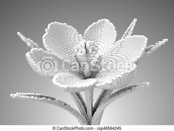 3d, fleur blanche, pixel, colchique , csp46564245
