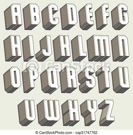 3d font, geometric dimensional letters set. - csp31747762
