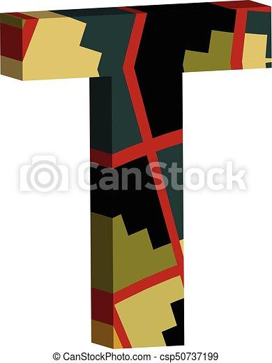 3d Font Letter T Colorful Three Dimensional Font Letter T