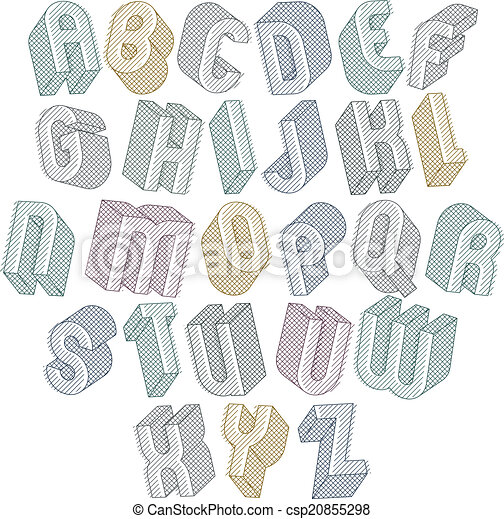 3d font with lines textures simple shaped bold letters alphabet