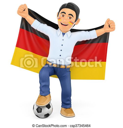 3D Football fan with the flag of Germany - csp37345464