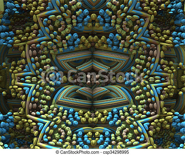 3D fractal ornament in muted colors - csp34298995