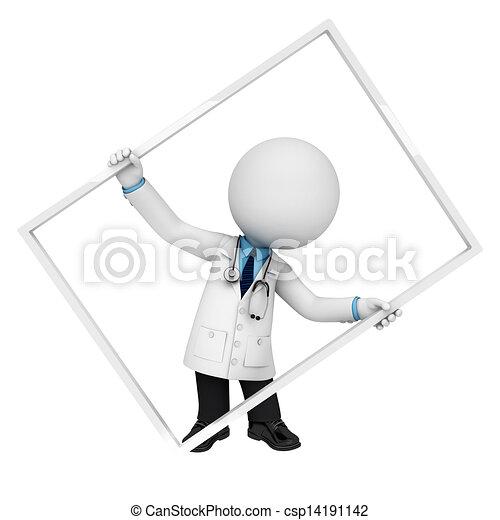 3D blancos como médicos con marco - csp14191142