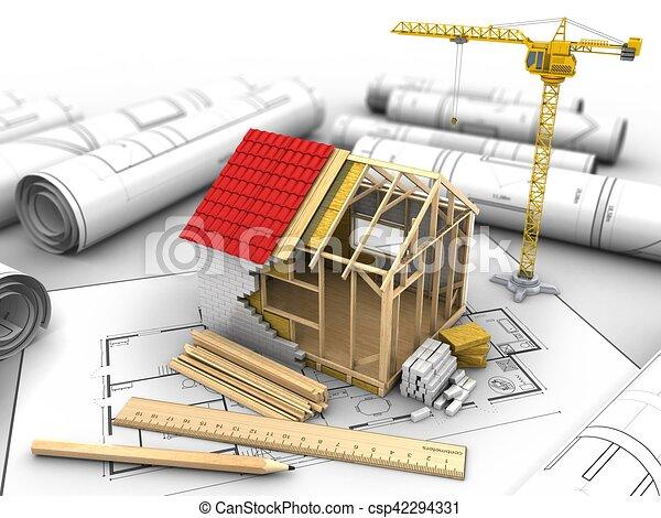 D Frame House Construction D Illustration Of Frame House