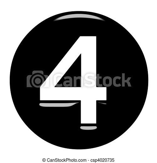 3d framed number 4 3d framed number 4 isolated in white