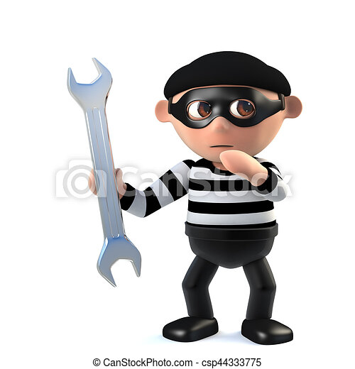 3d Funny burglar character holding a spanner - csp44333775