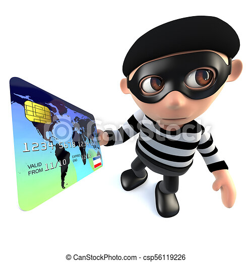 3d funny cartoon burglar thief character paying with a clip art rh canstockphoto com burglar clipart free burglar clip art