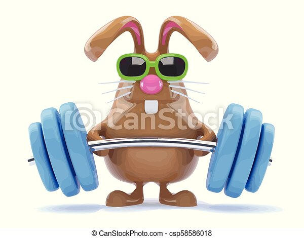 3d Funny cartoon chocolate Easter Bunny weightlifter - csp58586018
