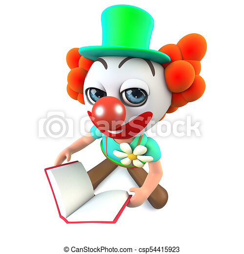 3d funny cartoon clown character reading a book 3d render clip rh canstockphoto com 3d clipart library 3d cliparts free