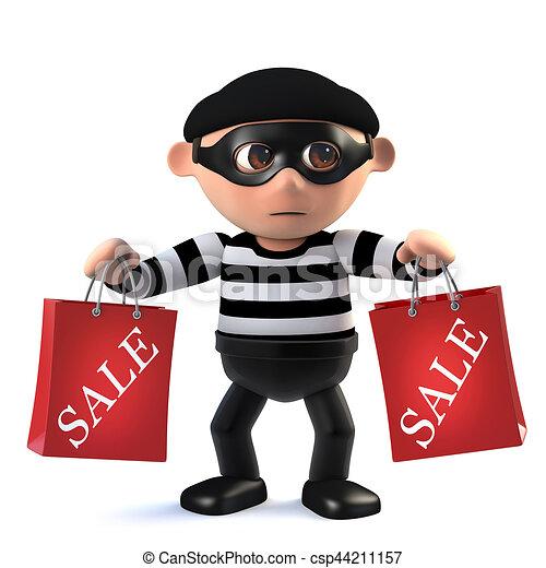 3d Funny cartoon criminal burglar character holding two sale bags - csp44211157